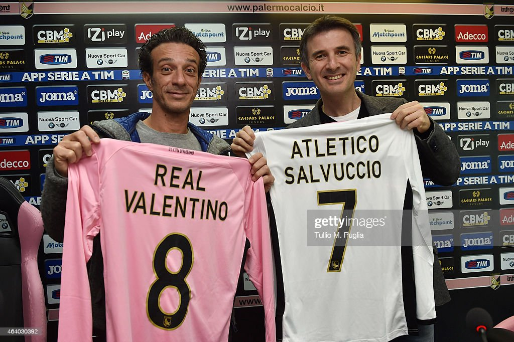 Salvo Ficarra and Valentino Picone pose during a US Citta di Palermo press conference at stadio Renzo Barbera on February 21, 2015 in Palermo, Italy.
