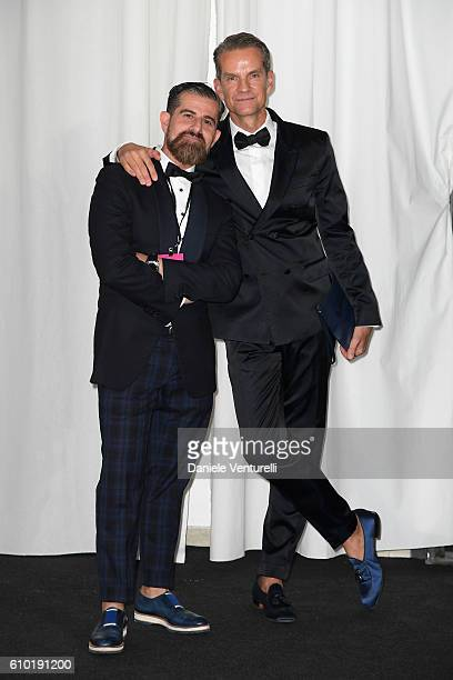 Salvo Nicosia and Alexander Werz walk the red carpet of amfAR Milano 2016 at La Permanente on September 24 2016 in Milan Italy