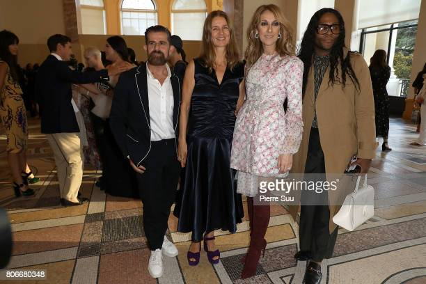 Salvo Nicosia Karla Otto and Celine Dion attend the Giambattista Valli Haute Couture Fall/Winter 20172018 show as part of Haute Couture Paris Fashion...