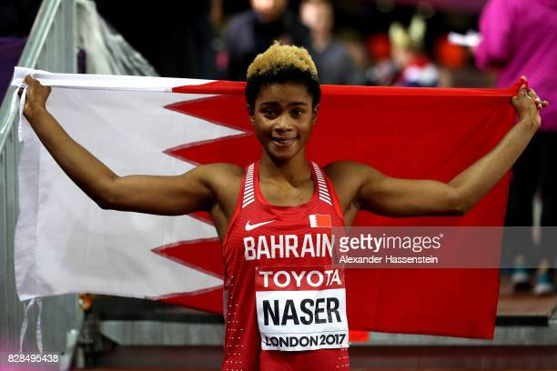 Salwa Eid Naser of Bahrain celebrates finishing in second place in the womens 400m final during day six of the 16th IAAF World Athletics...