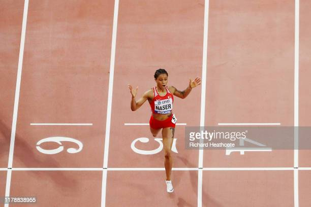 Salwa Eid Naser of Bahrain celebrates winning the Women's 400 Metres final during day seven of 17th IAAF World Athletics Championships Doha 2019 at...