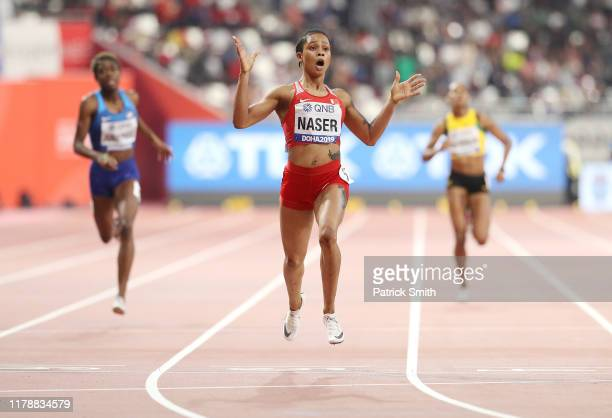 Salwa Eid Naser of Bahrain crosses the finishline to win the Women's 400 Metres final during day seven of 17th IAAF World Athletics Championships...