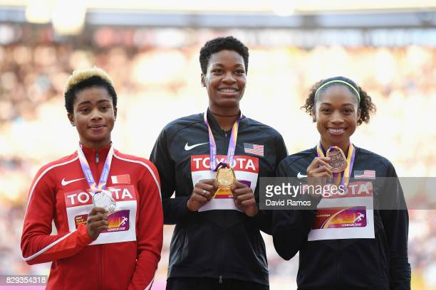 Salwa Eid Naser of Bahrain Phyllis Francis of United States and Allyson Felix of the United States pose with their medals won following the womens...