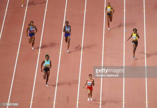 Salwa Eid Naser of Bahrain, Shaunae Miller-Uibo of the Bahamas, and Shericka Jackson of Jamaica compete in the Women's 400 Metres final during day...