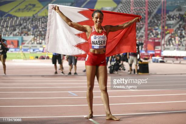 Salwa Eid Naser of Bahrein celebrates after getting the first place in Women's 400m final race during the 17th IAAF World Athletics Championships...