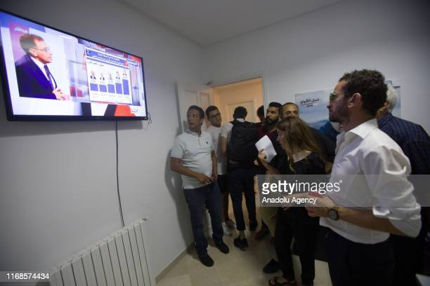 Salwa Karoui wife of jailed President candidate Nabil Karoui of Qalb Tounes party follows the election results at party headquarters in the Tunisian...