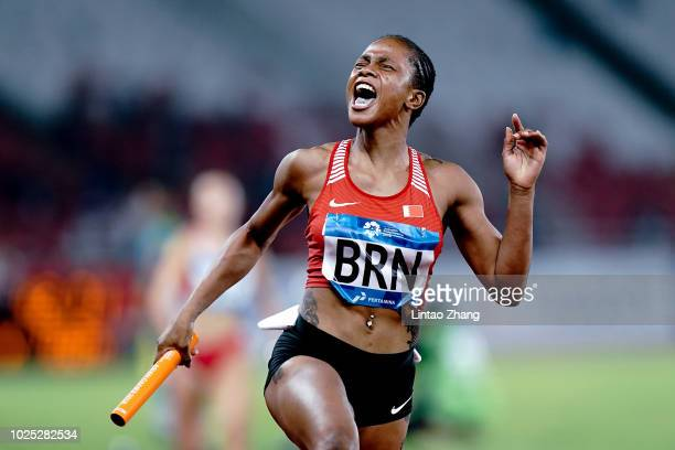 Salwa Naser of Bahrain celebrates winning the final of the women's 4x100m relay athletics event on day twelve of the Asian Games on August 30, 2018...