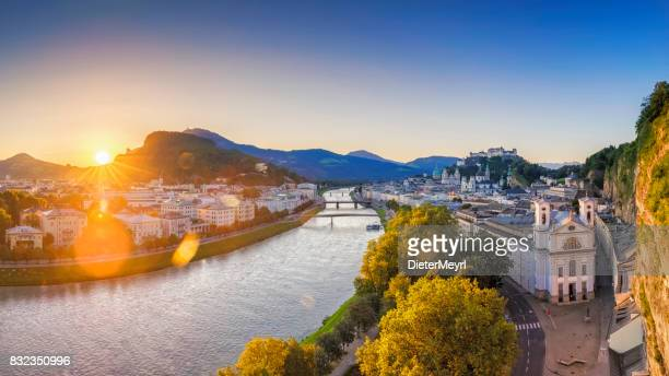 salzburg at sunrise, salzburger land, austria - salzburger land stock pictures, royalty-free photos & images