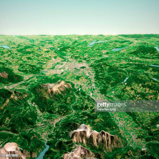 salzburg austria 3d render aerial horizon view from south jun 2019 - frankramspott foto e immagini stock