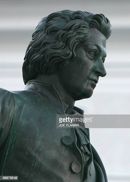 Closeup of the statue of Wolfgang Amadeus Mozart taken in Salzburg 26 January 2006 Friday marks 250th anniversary of Wolfgang Amadeus Mozart's birth...