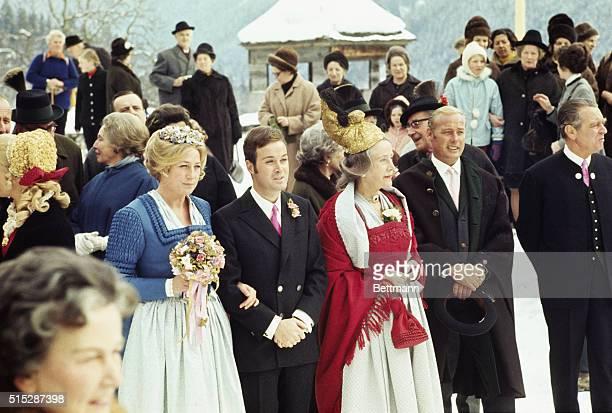Salzburg, Austria: Heir to the Krupp industrial empire, 31-year-old Arndt von Bohlen, marries Austrian Princess Henriette von Auersperg, 35. Couple...