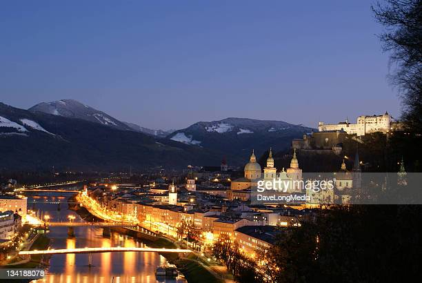 salzburg austria in the evening - wolfgang amadeus mozart stock pictures, royalty-free photos & images
