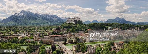 salzburg austria - panorama (xxl) - wolfgang amadeus mozart stock pictures, royalty-free photos & images