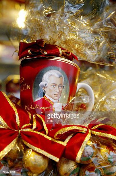 Picture taken 20 December 2005 shows a mug featuring Austrian musician Wolfgang Amadeus Mozart in a shop in Salzburg Austria The city will celebrate...