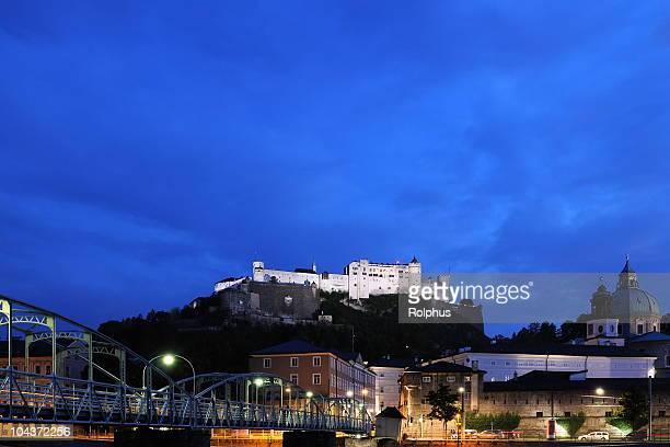 Salzburg Castle Hohensalzburg Nacht Minimalismus
