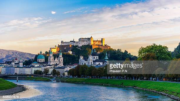 salzburg cityscape - salzburger land stock pictures, royalty-free photos & images