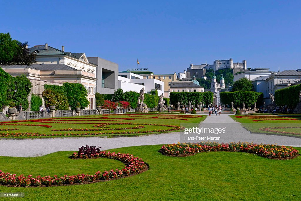 Salzburg, gardens of Mirabell Palace : Stock Photo