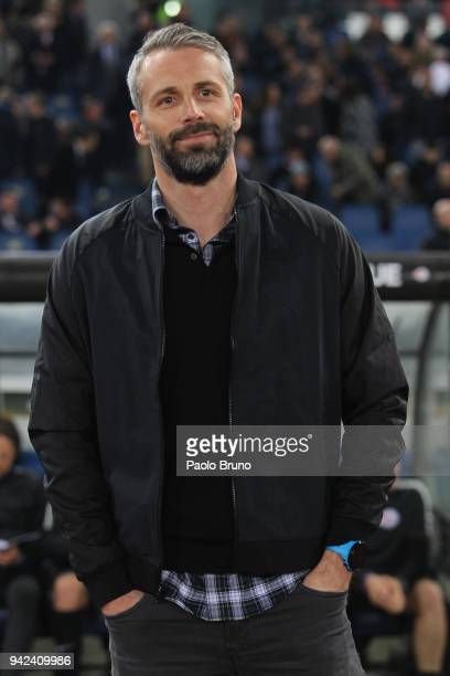Salzburg head coach Marco Rose looks on during the UEFA Europa League quarter final leg one match between SS Lazio and RB Salzburg at Stadio Olimpico...