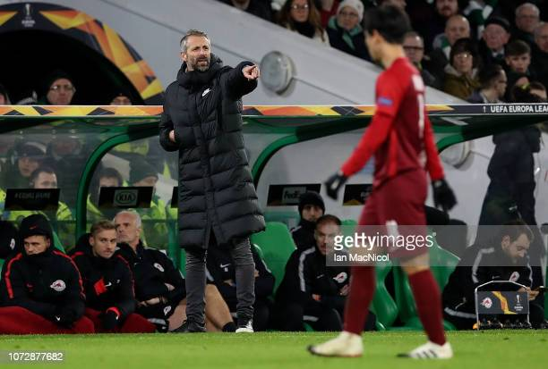 Salzburg Head Coach Marco Rose shouts instructions during the UEFA Europa League Group B match between Celtic and RB Salzburg at Celtic Park on...