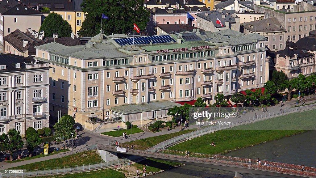 Salzburg, Hotel Sacher, Salzach river : Stock Photo