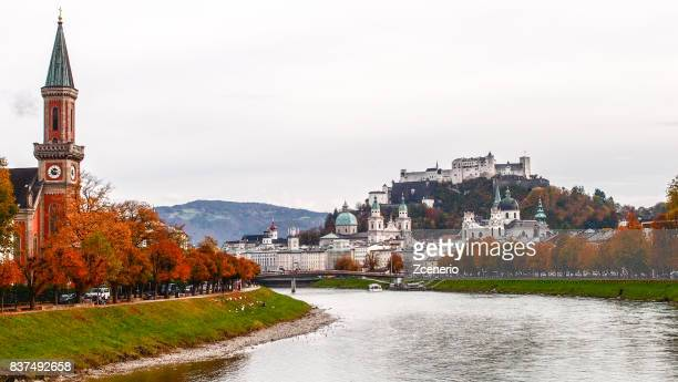 salzburg in autumn - austria stock photos and pictures