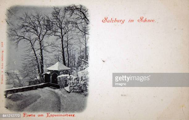 Salzburg in the snow Kapuzinerberg 1899 Collotype Photograph and publishing by Würthle Sohn / Salzburg