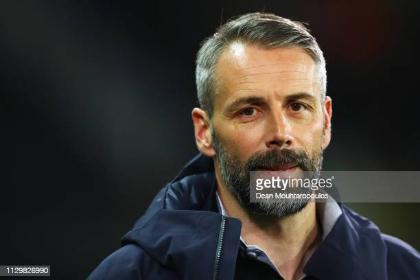 Salzburg Manager / Head Coach Marco Rose looks on during the UEFA Europa League Round of 32 First Leg match between Club Brugge and RB Salzburg at...