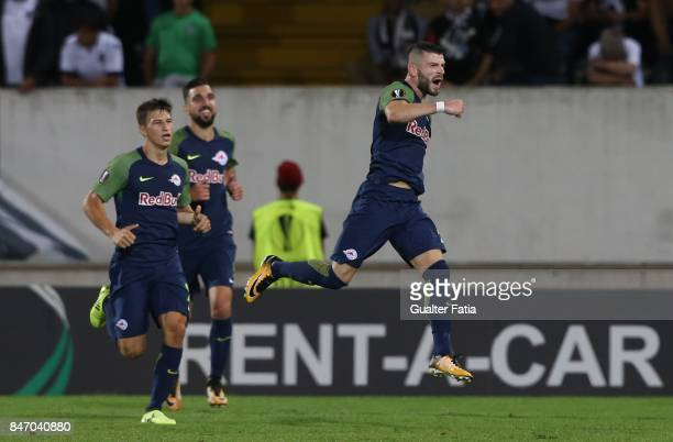 Salzburg midfielder Valon Berisha from Kosovo celebrates after scoring a goal during the UEFA Europa League match between Vitoria de Guimaraes and RB...