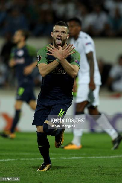RB Salzburg midfielder Valon Berisha from Kosovo celebrates scoring Salzburg goal during the match between Vitoria Guimaraes and RB Salzburg match...