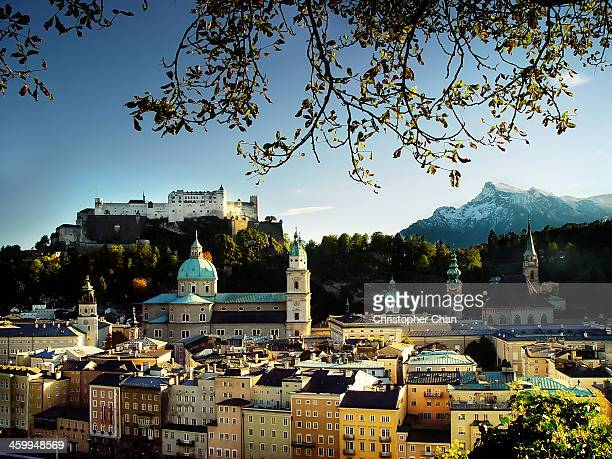 Salzburg old town with castle and mountain