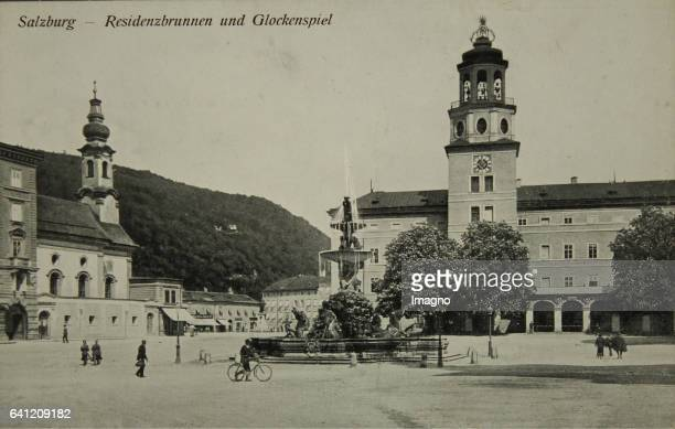 Salzburg Residenz fountain and carillon About 1910 Letterpress Photograph Printed and published by J Huttegger / Salzburg