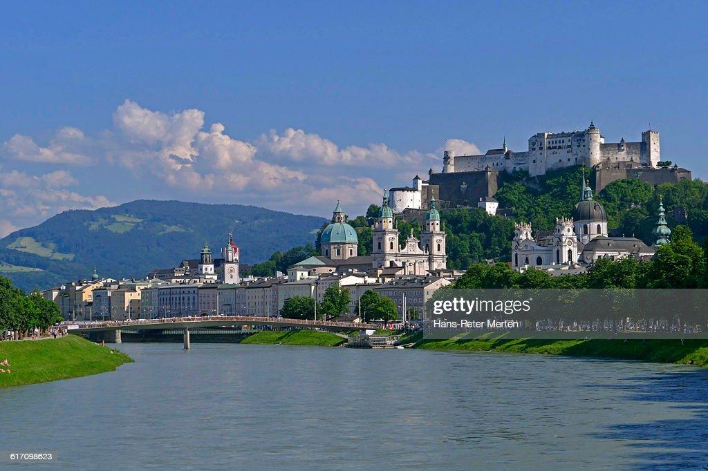 Salzburg, Salzach river, old town : Stock Photo