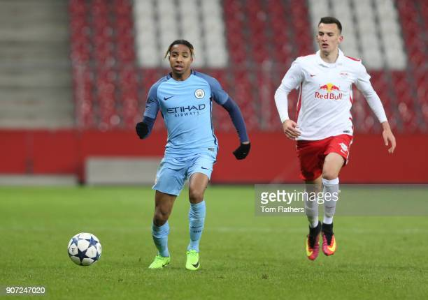 Salzburg v Manchester City UEFA Youth League Red Bull Arena Manchester City's Demeaco Duhaney in action