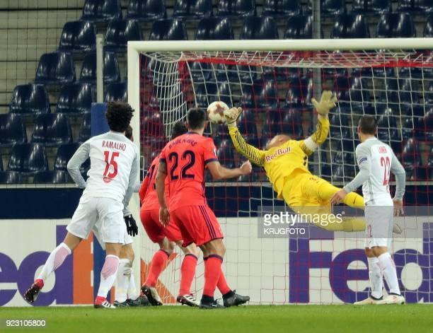 Salzburg's Alexander Walke and Andre Silva Ramalho vie with Real Sociedad's Raul Rodriguez Navas during the UEFA Europa League second leg round of 32...