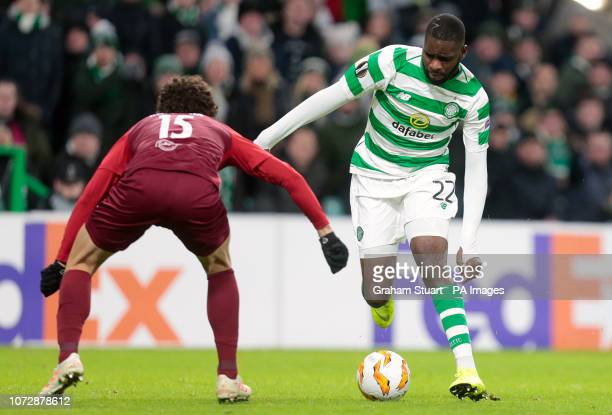 Salzburg's Andre Ramalho and Celtic's Odsonne Edouard battle for the ball during the UEFA Europa League Group B match at Celtic Park Glasgow