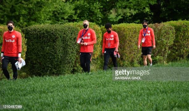 Salzburg's Austrian goalkeeper Cican Stankovic, FC Salzburg's Danish defender Rasmus Kristensen, FC Salzburg's German forward Karim Adeyemi and FC...