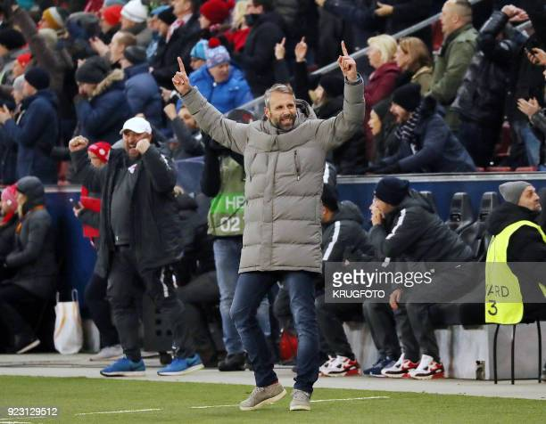 Salzburg's coach Marco Rose reacts during the UEFA Europa League second leg round of 32 football match between Real Sociedad and FC Salzburg on...