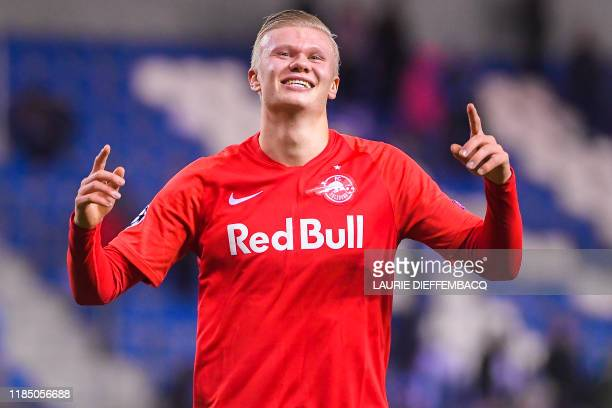Salzburg's Erling Braut Haaland celebrates after winning the game between Belgian soccer team KRC Genk and Austrian club RB Salzburg Wednesday 27...