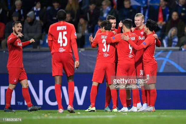 Salzburg's Erling Braut Haland celebrates after scoring during the game between Belgian soccer team KRC Genk and Austrian club RB Salzburg Wednesday...