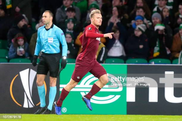 Salzburg's Fredrik Gulbrandsen celebrates scoring his side's second goal of the game during the UEFA Europa League Group B match at Celtic Park...