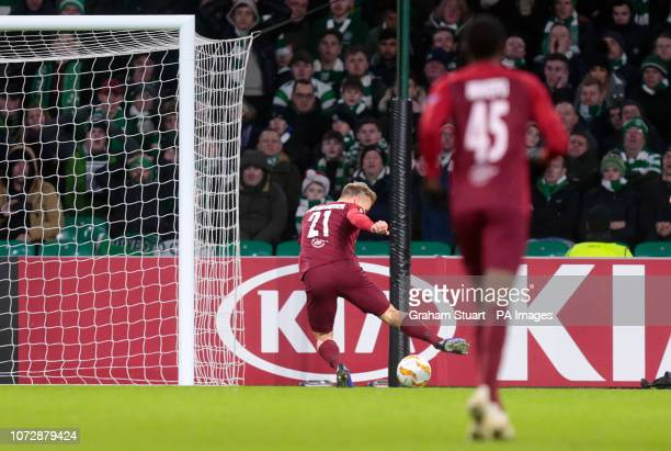 Salzburg's Fredrik Gulbrandsen scores his side's second goal of the game during the UEFA Europa League Group B match at Celtic Park Glasgow