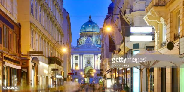 Salzburg's Getreidegasse street and Salzburg Cathedral, Austria