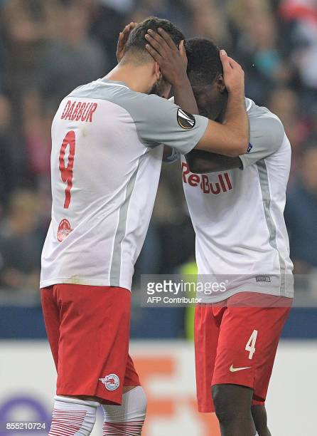 Salzburg's Israeli forward Munas Dabbur and Salzburg's Malian midfielder Amadou Haidara celebrate scoring during the UEFA Europa League group I...