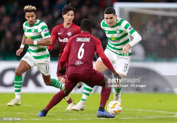 Salzburg's Jerome Onguene and Celtic's Tom Rogic battle for the ball during the UEFA Europa League Group B match at Celtic Park Glasgow