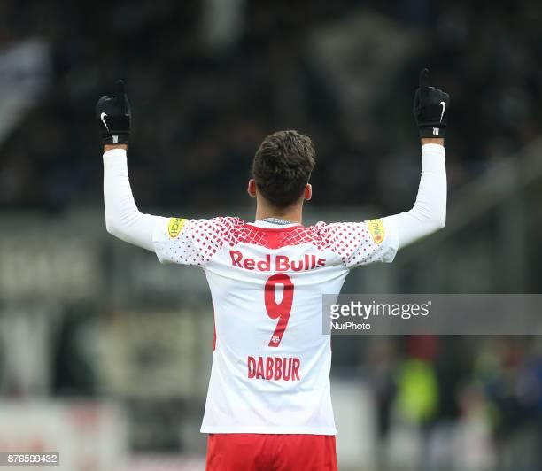Salzburg's midfielder from Israel Moanes Dabour celebrates a goal during Austrian Bundesliga match between Red Bull Salzburg and Sturm Graz at...