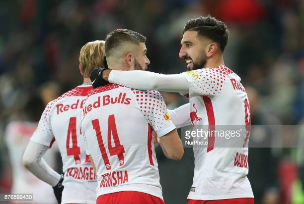 Salzburg's midfielder from Israel Moanes Dabour celebrates a goal with his teammates during Austrian Bundesliga match between Red Bull Salzburg and...