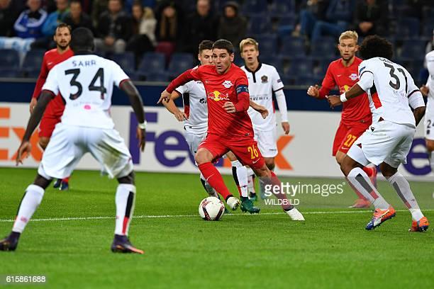 Salzburg's midfielder Jonathan Soriano plays the ball during Europa League football match FC Salzburg v OGC Nice in Salzburg on October 20 2016 / AFP...