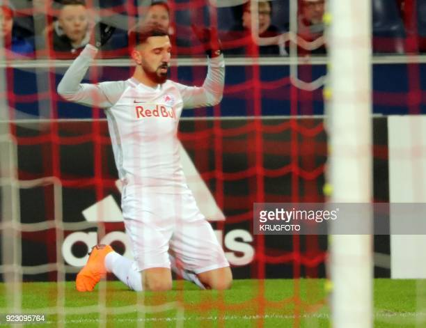 Salzburg's Munas Dabbur celebrates after scoring a goal during the UEFA Europa League second leg round of 32 football match between Real Sociedad and...