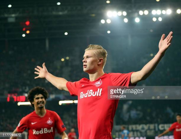 Salzburg's Norwegian forward Erling Braut Haland celebrates after scoring the 22 during the UEFA Champions League Group E football match FC Red Bull...