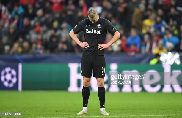Salzburg's Norwegian forward Erling Braut Haland during the UEFA Champions League Group E football match between RB Salzburg and Liverpool FC on...
